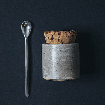 Salt Cellar with Cork Top & Spoon