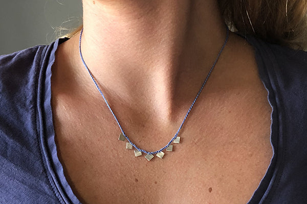 Bent Metal Lavender and Blue Silk Chain with Sterling Silver Necklace Made in Maine USA