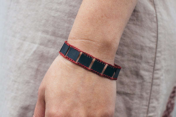 Bent Metal Crocheted Red Silk and Oxidized Sterling Silver Bracelet Made in Maine USA