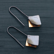 Bent Metal Square Flare Oxidized Silver Earrings Made in Maine, USA by Erica Schlueter