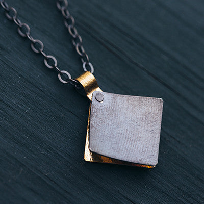 Bent Metal Square Flare Oxidized Silver Necklace Made in Maine, USA by Erica Schlueter