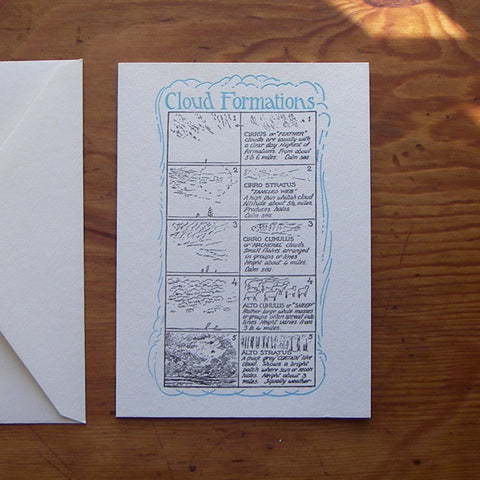 Saturn Press letterpress greeting card, Cloud Formations