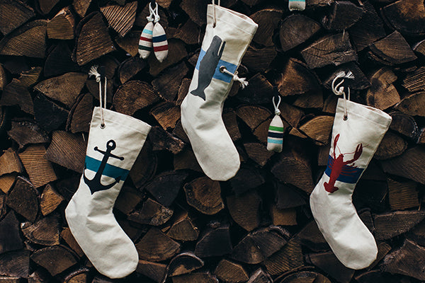 Christmas Canvas Duck Stockings Handmade in Maine USA by Cobalt Sky Studio