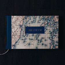 Handbound Guest Book by DSKI Design made in USA Muscongus Bay Maine Nautical Chart