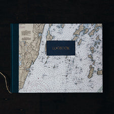 Handbound Sailing Logbook by DSKI Design Vintage Nautical Chart Bristol Maine Muscongus Bay Pemaquid Point