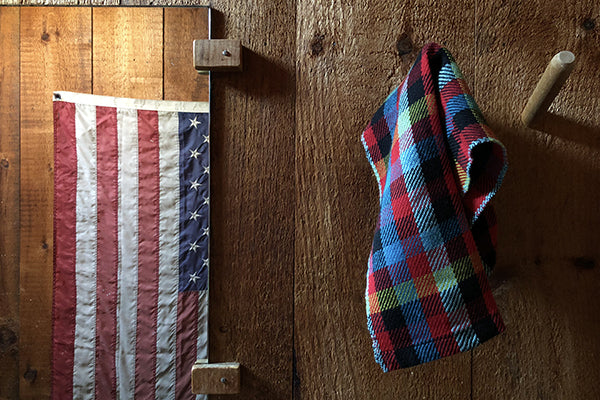 Farm and Hearth Handwoven Buffalo Check Camp Towels for Tea, Bath, Utility in Organic Cotton and Linen