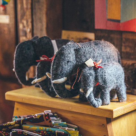 Mulxiply Hand Felted Stuffed Animals Elephants Made in Nepal Fair Trade Supporting Womens Cooperatives Square