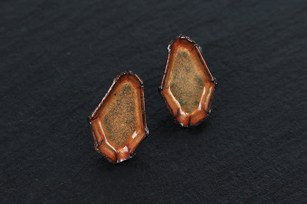 Bitty Barnacle Earrings by Enamel Artist Kate Mess in Maine USA