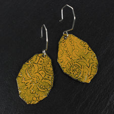 Fragment Pattern Earrings in Mustard