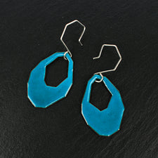 Kate Mess Fragment Cutout Earrings in Turquoise Enamel and Sterling Silver Made in Maine USA