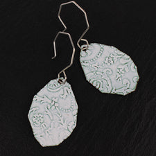 Fragment Pattern Earrings by Enamel Artist Kate Mess in Maine USA