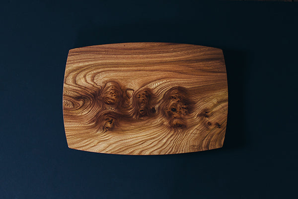 Louis Charlotte Woodworking Curve Tray in Carpathian Elm Burl Made in Maine USA