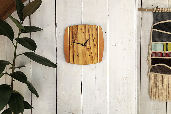 Louis Charlett Woodworking Wall Clock in Douglas Fir Made in Maine USA