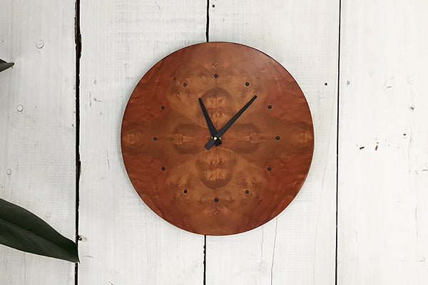 Louis Charlett Woodworking Wall Clock in Pelin Burl Made in Maine USA