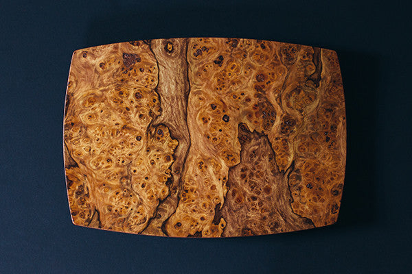 Wooden Tray or Lap Desk by Louis Charlett is made in Maine, USA of Pepperwood Burl