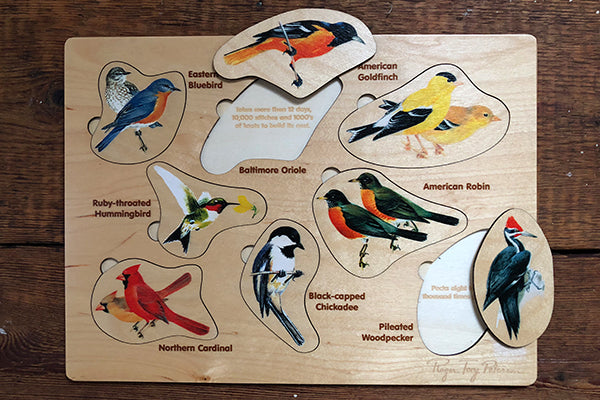 Sustainably Harvested Wood Backyard Birds Lift and Learn Puzzle by Maple Landmark Made in Vermont USA