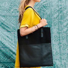 Mulxiply Handmade by Artisans in Nepal Felt and Leather Market Tote Bag in Black
