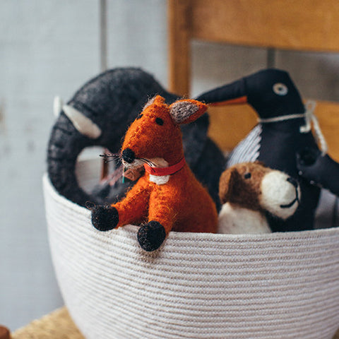 Mulxiply Hand Felted Stuffed Animal Fox Made in Nepal Fairtrade Supporting Womens Cooperatives