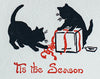 Saturn Press Christmas Card Made in Maine USA Wrap Cats Playing with Ribbon