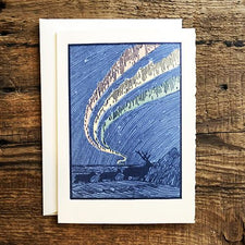 Saturn Press Letterpress Holiday Card Arctic with Reindeer and the Northern Lights is made in Maine USA