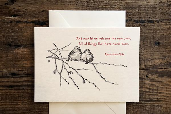 Saturn Press Letterpress Holiday Card Juncos is made in Maine USA