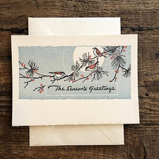 Saturn Press Letterpress Holiday Card Moon Birds is made in Maine USA