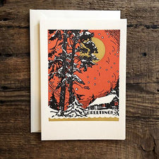 Saturn Press Letterpress Holiday Card Red Sky is made in Maine USA