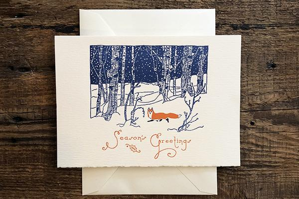 Saturn Press Letterpress Holiday Card Snow Fox is made in Maine USA