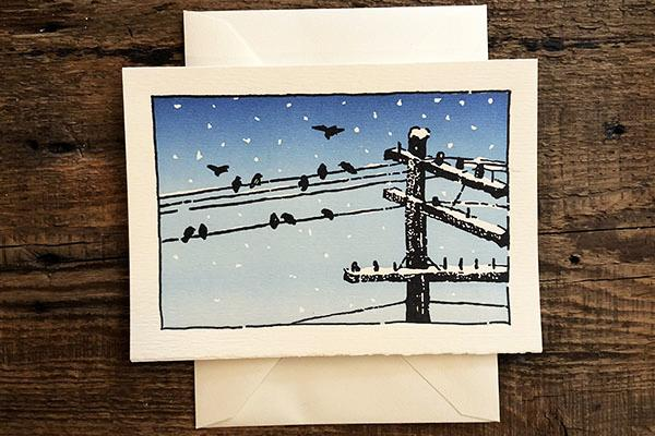 Saturn Press Letterpress Card Wire Birds is made in Maine USA