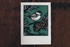 Saturn Press Christmas Card Made in Maine USA Black Capped Chickadee