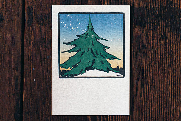 Saturn Press Christmas Card Made in Maine USA Spirit of the Season Fir Tree