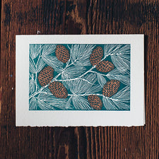 Saturn Press Letterpress Holiday Card Pinecones is made in Maine USA