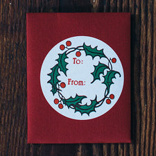 Round Holly Sticker Gift Tags