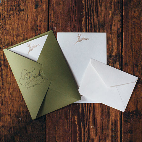 Letterpress Stationery Sets by Saturn Press are made in Maine, USA, on recycled paper. Flourish Deer