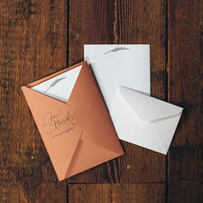 Letterpress Stationery Sets by Saturn Press are made in Maine, USA, on recycled paper. Flourish Quill