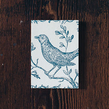 Letterpress Note Cards by Saturn Press are made in Maine, USA, on recycled paper. Nightingale