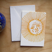Letterpress Note Cards by Saturn Press are made in Maine, USA, on recycled paper. Old Sol