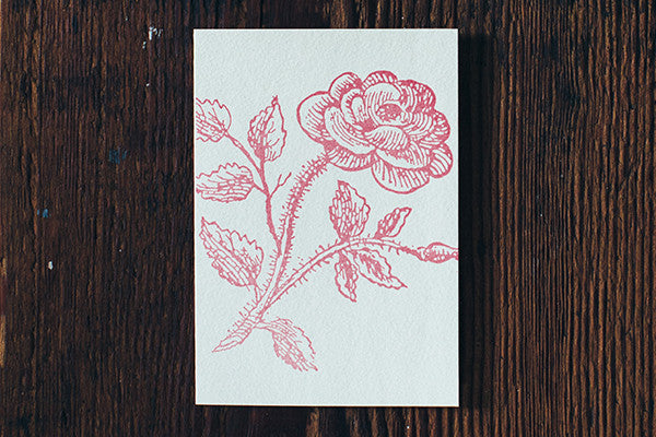 Letterpress Note Cards by Saturn Press are made in Maine, USA, on recycled paper. Pink Rose