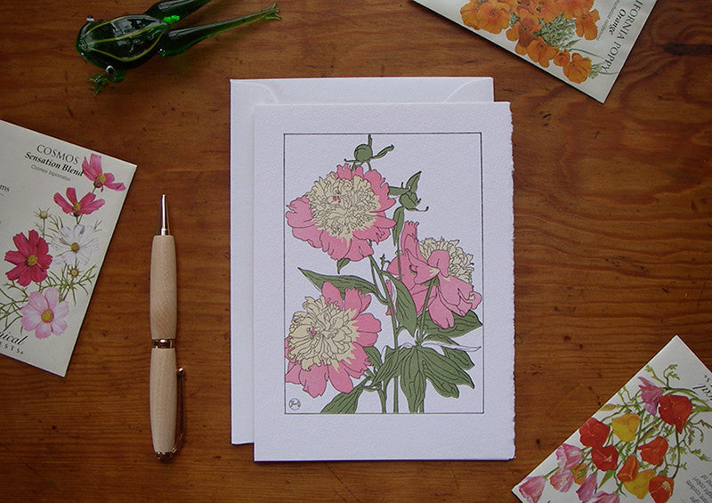 Letterpress Card by Saturn Press - Peony