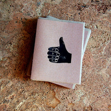 The Good Supply Artisan Store in Pemaquid Maine Midcoast Block Print Artist Allison McKeen Handprinted Thumbs Up Greeting Card Kraft Paper Made in USA