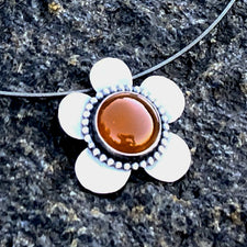 The Good Supply Midcoast Artisan Store Carnelian Daisy Flower Oxidized Pendant Necklace by Christine Peters Fine Jewelry Made in Maine USA