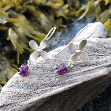 The Good Supply Midcoast Artisan Store Hydrangea Flower Dangly Earrings with Rhodolite Garnet and Sterling Silver by Christine Peters Fine Jewelry Made in Maine USA