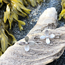The Good Supply Midcoast Artisan Store Hydrangea Flower Earrings in Sterling Silver by Christine Peters Fine Jewelry Made in Maine USA