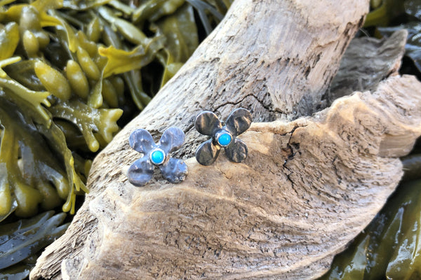 The Good Supply Midcoast Artisan Store Hydrangea Flower Stud Earrings with Oxidized Sterling Silver and Turquoise by Christine Peters Fine Jewelry Made in Maine USA
