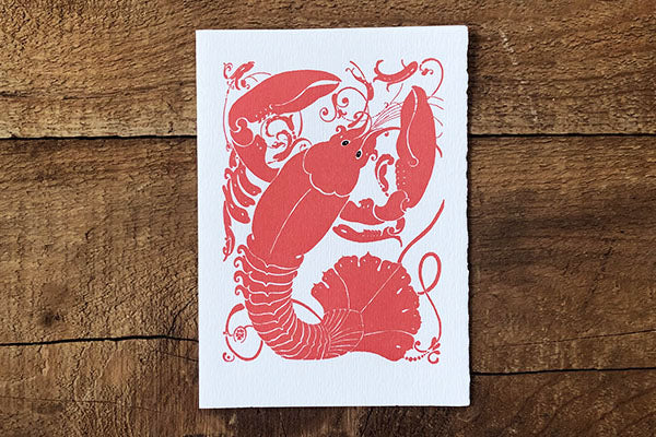 The Good Supply Pemaquid Midcoast Artisan Store Letterpress Card Saturn Press Made in Maine USA 1192 Lobster