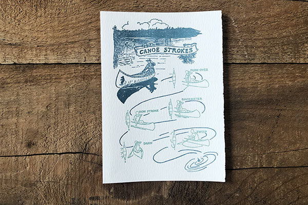 The Good Supply Pemaquid Midcoast Artisan Store Letterpress Card Saturn Press Made in Maine USA Canoe Strokes
