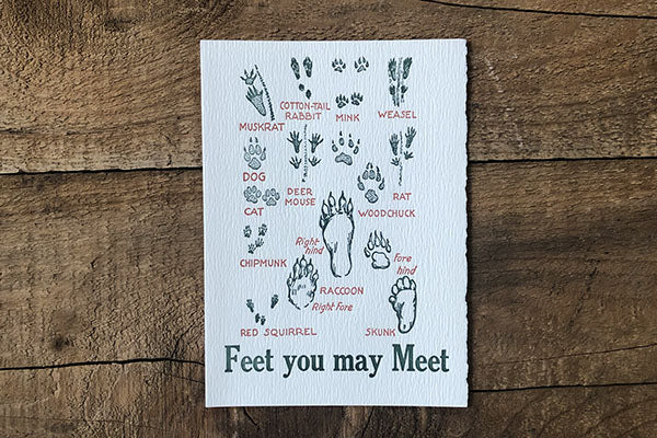 The Good Supply Pemaquid Midcoast Artisan Store Letterpress Card Saturn Press Made in Maine USA Feet You May Meet