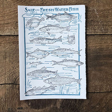 The Good Supply Pemaquid Midcoast Artisan Store Letterpress Card Saturn Press Made in Maine USA Fishes