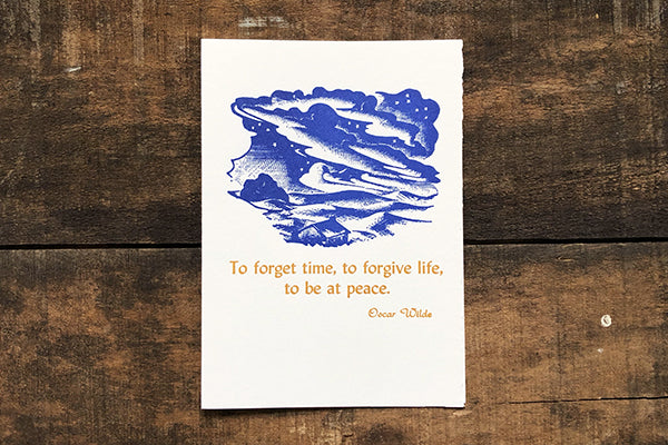 The Good Supply Midcoast Artisan Store Letterpress Cards Saturn Press Made in Maine USA Forget Time Oscar Wilde Quote Sympathy Card