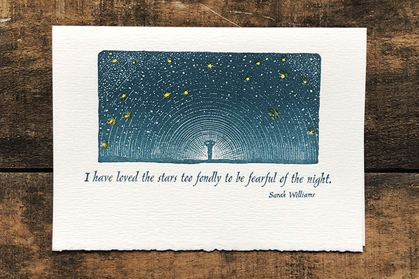 The Good Supply Midcoast Artisan Store Letterpress Cards Saturn Press Made in Maine USA Love for Stars Sympathy Card with Quote by Poet Sarah Williams